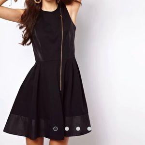 NWT asos black leather skater dress